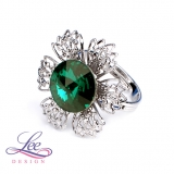 Prsten Swarovski Elements Vanesa s Rivoli Emerald 12 mm