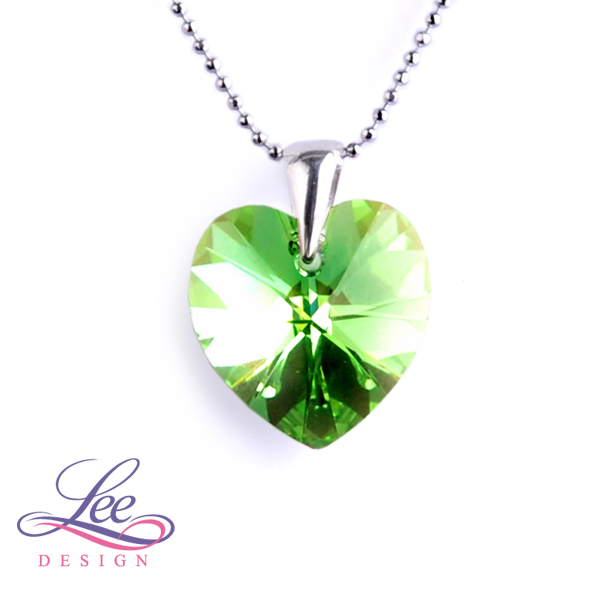 de0cafc01 Náhrdelník se Swarovski® crystals Srdce 18 Peridot AB