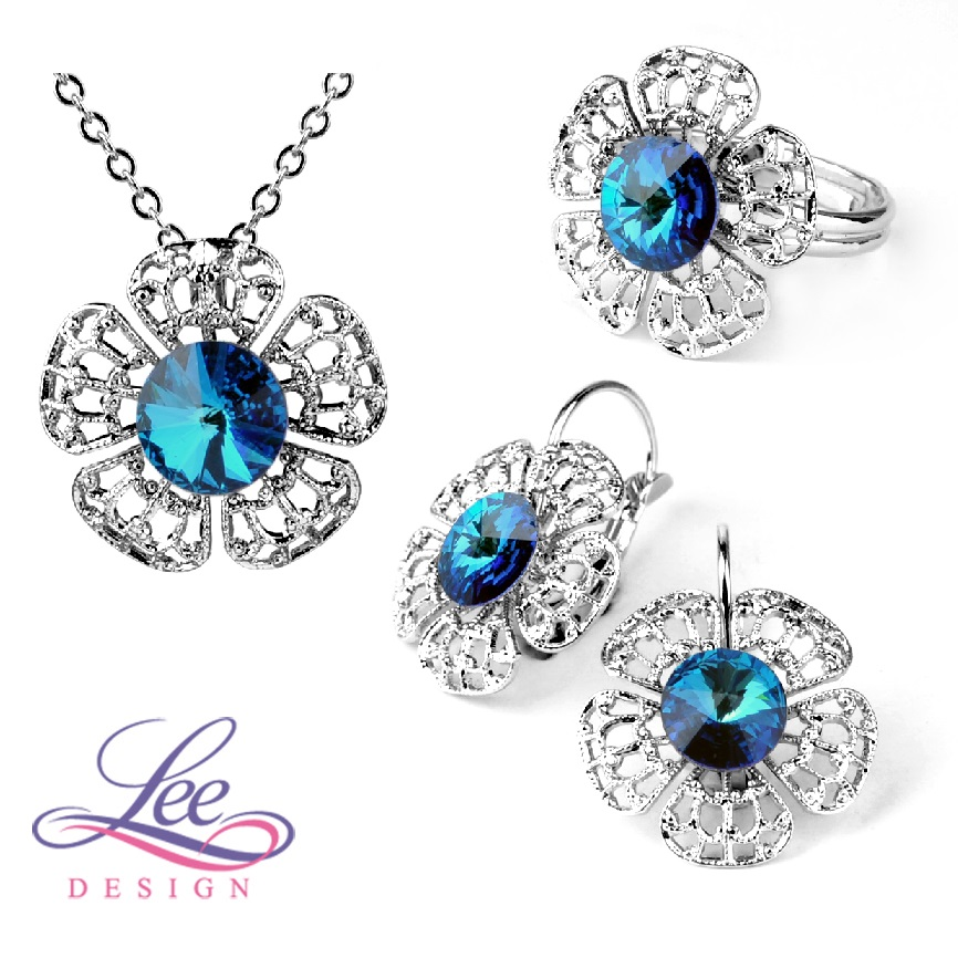 Sada šperků se Swarovski® crystals Flora Crystal Bermuda Blue - více variant e03f07befb2