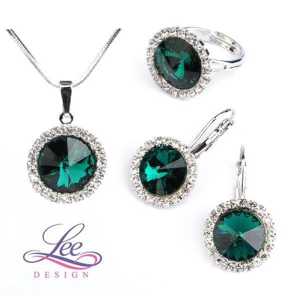 Sada šperků se Swarovski® crystals Daisy Emerald 7f3f7925993