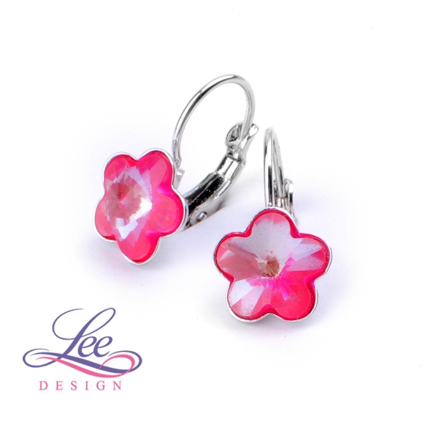 Dětské náušnice se Swarovski® crystals Kytičky 10KL Neon Pink acd0977da9a