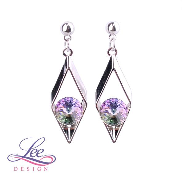 Náušnice s krystaly Swarovski Kosodélník Crystal Vitrail Light 45b5cb9ba05