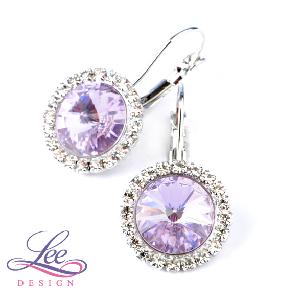 Náušnice s krystaly Swarovski Daisy Violet  7f4ea188d59