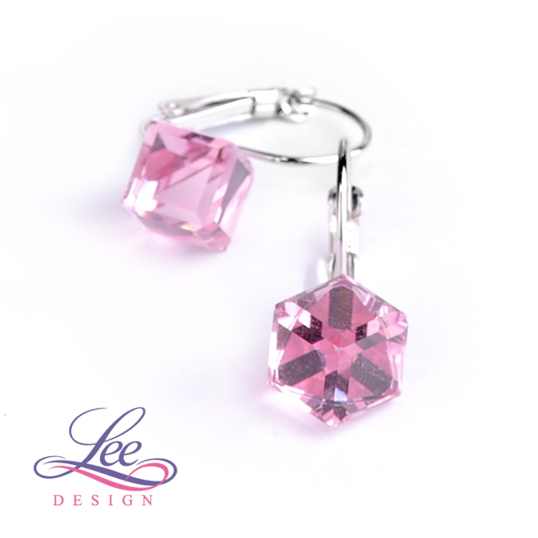Náušnice Swarovski Elements Kostičky Light Rose CAL 8 mm