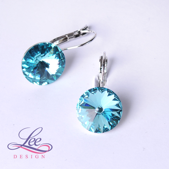 Náušnice Swarovski Elements Rivoli Aquamarine 10 mm KL