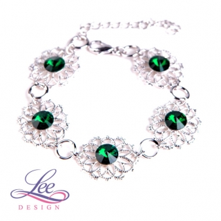 Náramek Swarovski Elements Krajka s Rivoli Emerald 8 mm