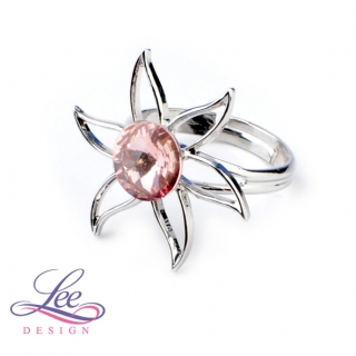 Prsten Swarovski Lilie s Rivoli Light Rose 8 mm