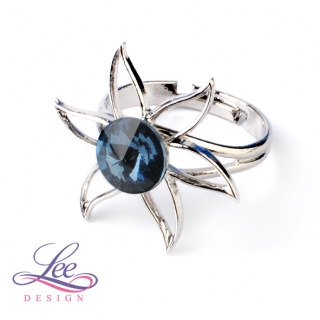 Prsten Swarovski Lilie s Rivoli Denim Blue 8 mm