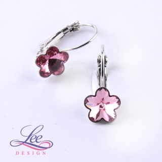 Náušnice Swarovski Elements Kytičky Light Rose 10 mm KL
