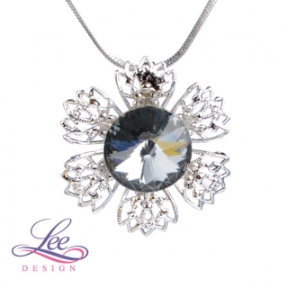 Náhrdelník Swarovski Elements Vanesa s Rivoli Crystal Silver Night 12 mm