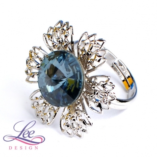 Prsten Swarovski Elements Vanesa s Rivoli Denim Blue 12 mm