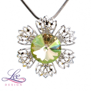 Náhrdelník Swarovski Elements Vanesa s Rivoli Crystal Luminous Green 12 mm