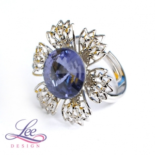 Prsten Swarovski Elements Vanesa s Rivoli Tanzanite 12 mm