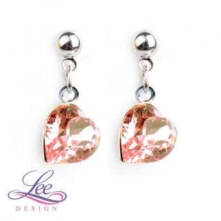 Náušnice Swarovski Elements Srdíčka Light Rose 8 mm PU