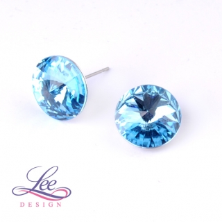 Náušnice Swarovski Elements Rivoli Aquamarine 14 mm PU