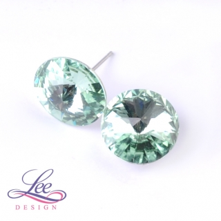 Náušnice Swarovski Elements Rivoli Chrysolite 14 mm PU
