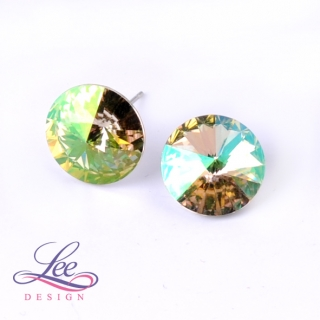 Náušnice Swarovski Elements Rivoli Crystal Luminous Green 14 mm PU