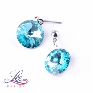 Náušnice Swarovski Elements Rivoli Light Turquoise 14 mm BI