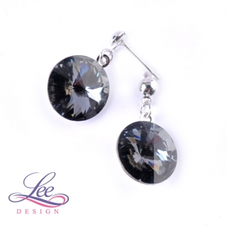 Náušnice Swarovski Elements Rivoli Crystal Silver Night 14 mm BI