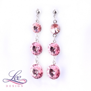 Náušnice Swarovski Elements Rivoli Light Rose 8+10+12 mm BI