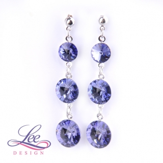 Náušnice Swarovski Elements Rivoli Tanzanite 8+10+12 mm BI