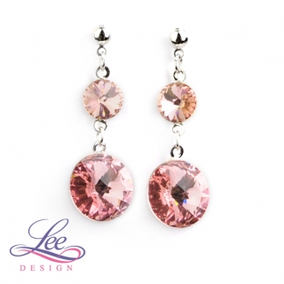 Náušnice Swarovski Elements Rivoli Light Rose 8+14 mm BI