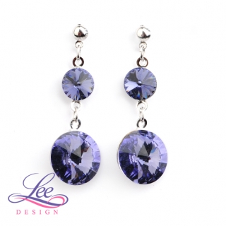 Náušnice Swarovski Elements Rivoli Tanzanite 8+14 mm BI