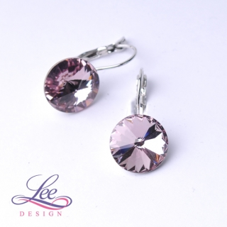 Náušnice Swarovski Elements Rivoli Light Amethyst 10 mm KL