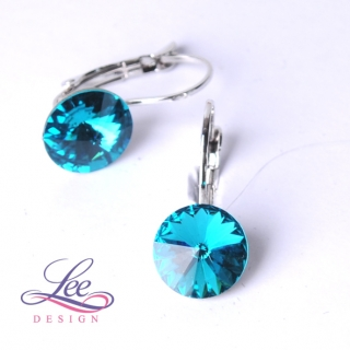 Náušnice Swarovski Elements Rivoli Light Turquoise 10 mm KL