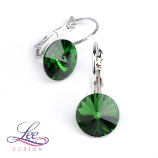 Náušnice Swarovski Elements Rivoli Dark Moss Green 10 mm KL