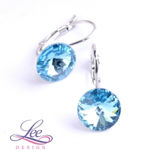 Náušnice Swarovski Elements Rivoli Aquamarine 12 mm KL