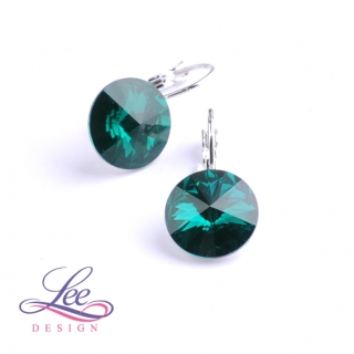 Náušnice Swarovski Elements Rivoli Emerald 12 mm KL
