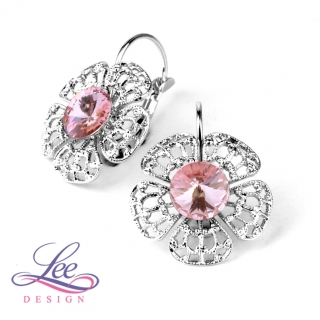 Náušnice se Swarovski® crystals Flora Light Rose