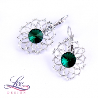 Náušnice Swarovski Elements Krajka s Rivoli Emerald 8 mm