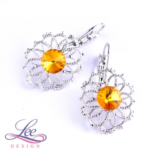 Náušnice Swarovski Elements Krajka s Rivoli Sunflower 8 mm